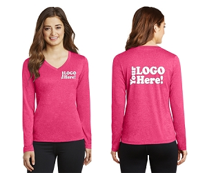 Ladies Long Sleeve Heather V-Neck Shirt
