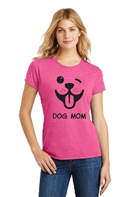 Dog Mom Winky Face Ladies Scoop Neck