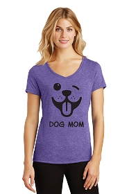 Dog Mom Winky Face Ladies V-Neck
