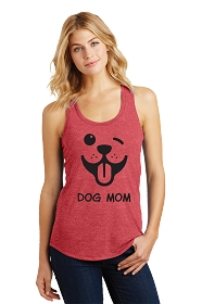 Dog Mom Winky Face Ladies Tank Top